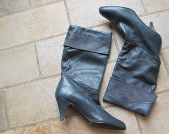 1980s Vintage Gray Leather Suede Slouchy Chic Boots Heels   8