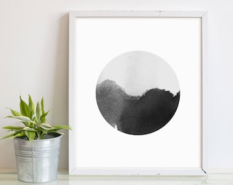 Home Decor, Scandinavian Modern, Wall Art, Watercolor Digital Print, Black and White, Digital Download, Modern Art, Scandinavian Wall Art