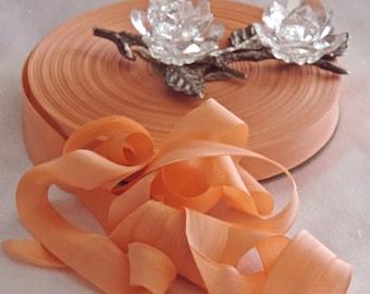 2 Yds.Vintage Lawrence Schiff Silk Mills Woven Edge Rayon Ribbon/Seam Binding/Supplies/Crafts/ Scrap booking/ Beautiful Peach