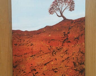 Red land. Original acrylic painting. Landscape painting. Tree painting.