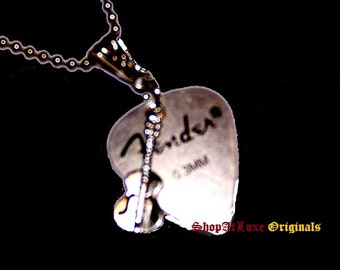 Fender Steel Guitar Pick Necklace with Choice of Acoustic Guitar or Electric Guitar Charm