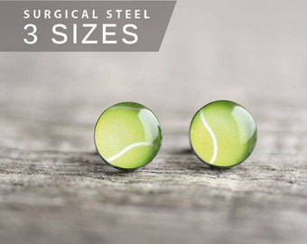 Tennis ball post earrings, Surgical steel stud, Sport earring studs, mens earrings, earrings for men, gift for him, sport ball stud