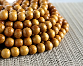 12mm Natural Nangka Jackfruit Round Premium Wood Beads - 15 inch strand
