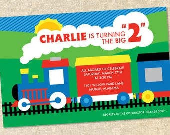 Sweet Wishes Primary Choo Choo Train Birthday Party Invitations - PRINTED - Digital File Also Available
