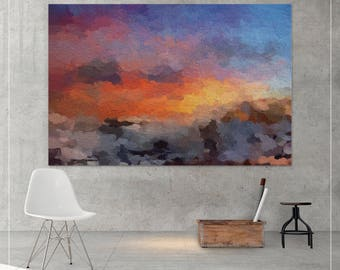 Sunset minimalist abstract painting, Canvas print,  Abstract painting, Abstract Print, Home decor, Landscape, Abstract art, Sunrise-928