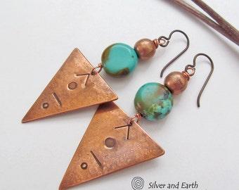 Natural Turquoise Copper Earrings, Boho Earrings, Handmade Metalwork Earrings, Rustic Earthy Bohemian Jewelry, Genuine Turquoise Jewelry