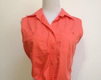 90's Coral Denim Button-Up w/Tie