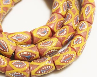 Large African Krobo Beads (8), Colorful Glass Beads, Hand Painted Beads (Q61)