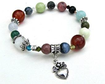 Bracelet extensible pierres précieuses, cornaline, Rhodonite, opale bleue, Quartz de nuage, s'adapte à 6 3/4 à 7 pouces breloque coeur de poignet, bijoux de corps, Item1194