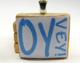 Hebrew Scrabble tile - Oy Vey - blue on white