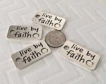 "8 - Silver ""Live by Faith"" large tags, pendants, stamped pendants, faith necklace, 2 sided pendant, religious necklace"