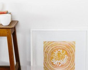 You Are My Sunshine, Wall Art, Decor for Childrens room, Wall Art Prints, australia design, Great for kids bedroom, Original design, Nursery