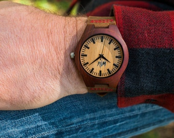 FREE Engraving Wood Watch,Fathers Day Gift, Boyfriend Gift, Mens watch, Groomsmen gift, Husband Gift, Anniversary Gift,  engraving, SM112
