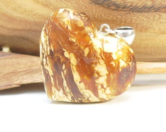 Antique baltic amber heart pendant