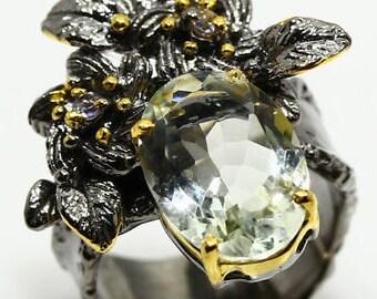 Natural Green Amethyst 925 Sterling Silver Ring size 7.5 - Fine Art Ring 7 8 - Handmade Ring Green Amethyst ring Garnet Elegant Ring