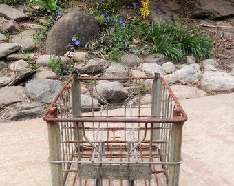 Vintage Wire Milk Crate , Wire Crate , Metal Milk Crate , Industrial , Steampunk