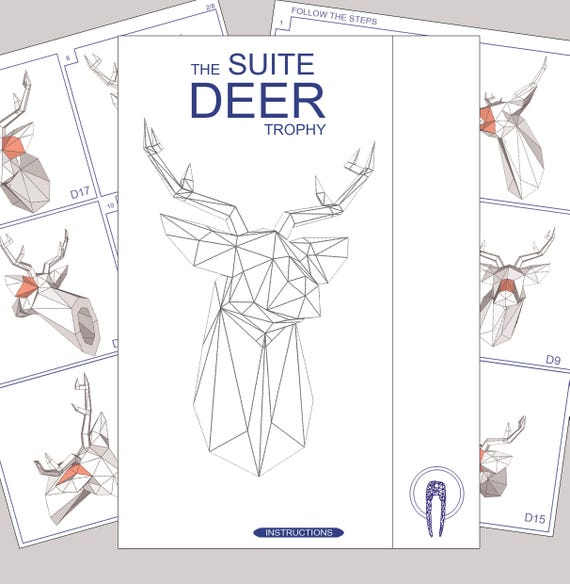 papercraft deer head paper trophy paper animal head. Black Bedroom Furniture Sets. Home Design Ideas