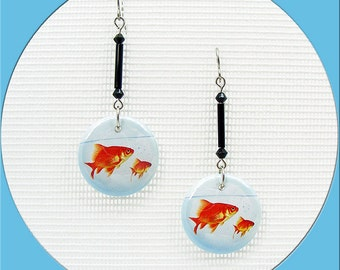 """1"""" Goldfish Bowl 1 inch Buttons available in Posts, Ear wires or Dangle Pierced Earrings"""