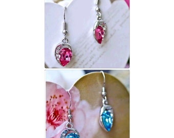 silver plated pink &blue crystal drop earrings