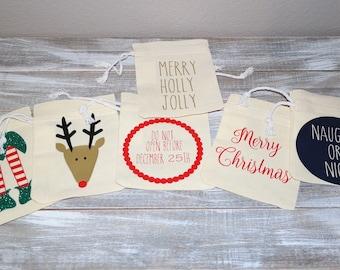 Christmas Mini Santa Sacks/Favor bags/rustic bags