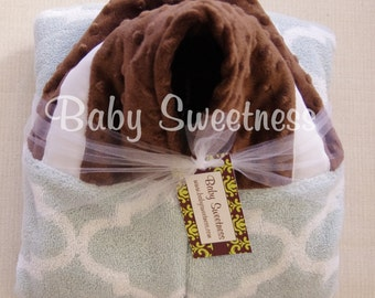 Hooded Towel - Personalized Towel With Hood - Lattice Quatrefoil Nursery - Blue Brown Nursery - Toddler Towel - Baby Towel - IN STOCK