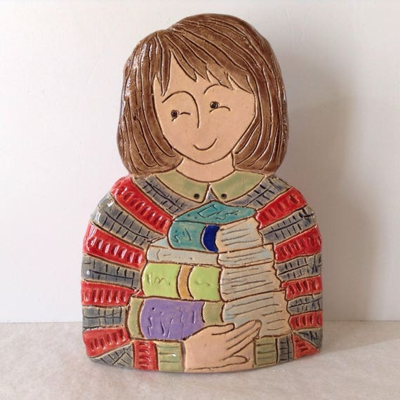 On PRE-ORDER.  Lady with Books.  Handmade ceramic bust, mini-bust, Colourful People, collectible, one of a kind