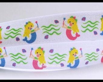 "Mermaid Princess  Fold Over Elastic FOE Ribbon 5/8"" wide AZ391"