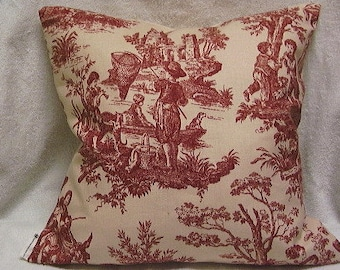 SALE, Toss / Throw Pillow cover, Waverly red and cream toile, 16x16 or 18x18,  four color choices.