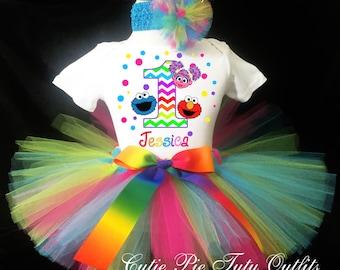 Elmo Abby Cadabby Cookie Monster 1st First Birthday Tutu Outfit Rainbow Custom Personalized Baby Girl Shirt Tutu Headband 3 Piece Set
