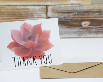 Thank You Note Card Pink Succulant