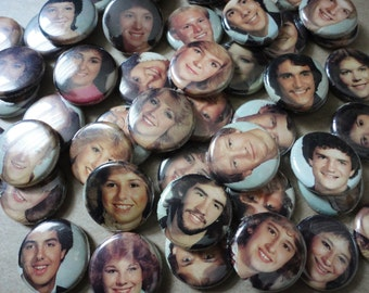Handmade Wedding Favors - 50 1 Inch Pinback Buttons - 1984 Yearbook Photos- These Kids are Looking Very Freaks and Geeks