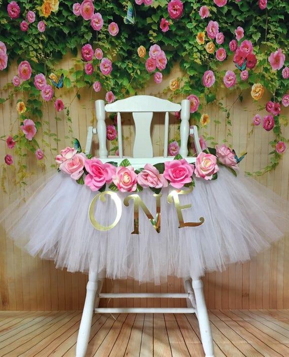 High Chair Tutu Highchair Tutu Skirt Pink And White