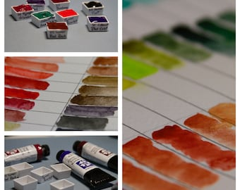The Browns, Blacks, and Greys - Hand-Poured Half Pans of Fine Art Watercolor Paint by Daniel Smith (Y