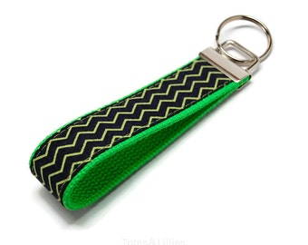 Navy Lime Green Chevron Fabric on Neon Green Webbing Key Fob Keychain