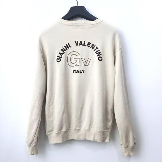 Gianni Valentino ITALY Sweatshirt Big Logo Embroidered Sweatshirt Pullover Crewneck Large V71rb