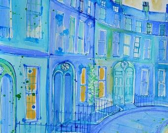 PRINT OF BATH, Widcombe crescent, English Georgian Crescent, Blue Georgian Buildings, Wall Art, Fine Art Print, by Sasha Barnes.