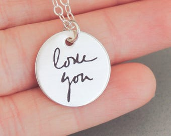 Actual Handwriting Necklace Handwriting Jewelry Signature Necklace Disc Necklace Sterling Silver, Copper, Brass, Memorial Gift