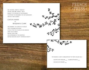 Modern Minimal Branch Wedding Invitation Suite, Personalized Instant Download, Printable DIY