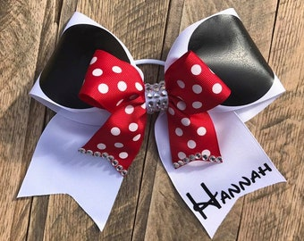 Personalized Minnie Mouse Cheerleader Bow