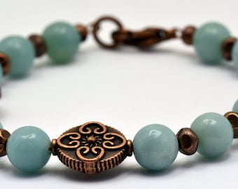 Amazonite Rounds with Copper Color Beaded Bracelet - BR00527