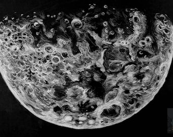 Moon Pencil Illustration Print (signed by artist) - 12' x 8'