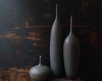MADE TO ORDER-    3 large bottle vases in slate matte by sara paloma