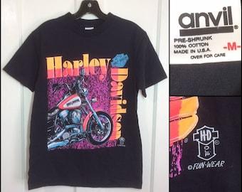 1990s Harley Davidson Motorcycle neon day glow print t-shirt size medium 17.5x25.5 black cotton biker hd by Funwear made in USA