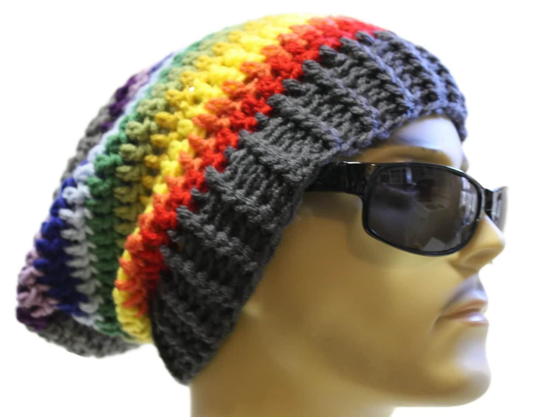 Mütze häkeln Slouch Beanie Hipster Hut grau Regenbogen