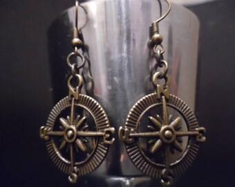 Bronze Compass Steampunk Earrings