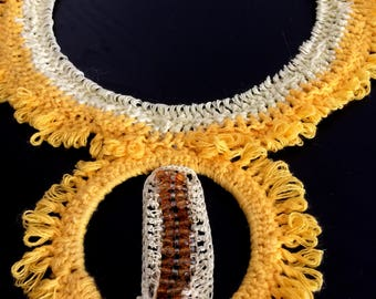 crocheted yellow necklace