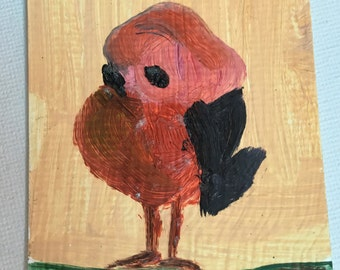 Original ACEO Oil Painting- Old Wise Bird