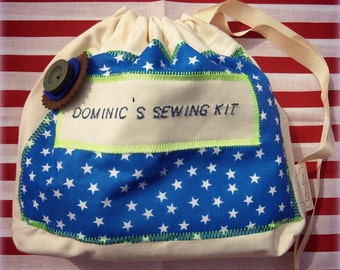 Personalized Sewing set for Boys/Personalized Kids sewing/Personalized Craft set in stars fabric/blue red green/boys sewing kit/boys craft