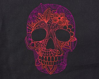 Made To Order - Sugar Skull Knitting Project Bag - Large Project Bag - Knitting Bag - Yarn Bag - Embroidered Purple Pinks Project Bag