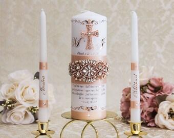 Rose Gold Wedding Unity Candle Set with Rose Gold Cross Personalized Wedding Candles, Rose Gold Wedding Candles, Rose Gold Unity Candle Set